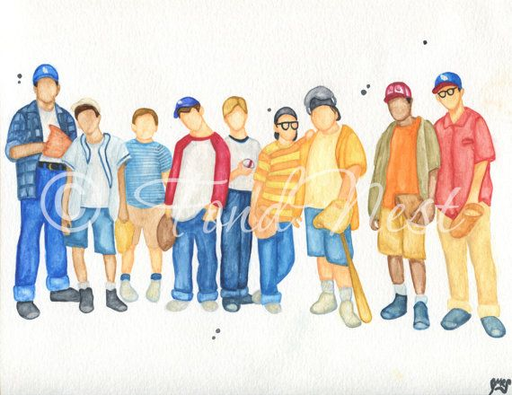 The Sandlot Art Baseball Watercolor Painting Print For Playroom Kids Room Boys
