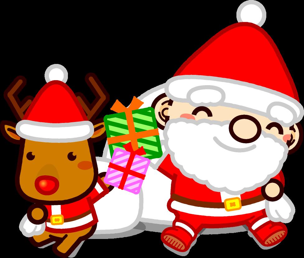 座ってプレゼントを掲げるサンタさんとトナカイのイラスト サンタさんとトナカイ 12月 季節 素材のプチッチ サンタさん イラスト クリスマス イラスト