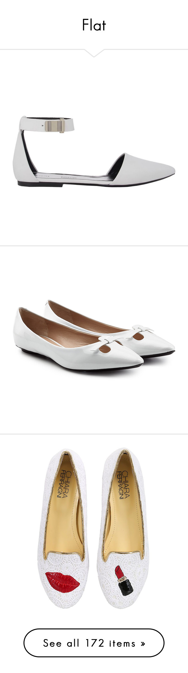 """Flat"" by alejaborrayo ❤ liked on Polyvore featuring shoes, flats, white, white ankle strap flats, d'orsay flats, pointed-toe ankle-strap flats, white flats, pointed toe flats, ballet shoes and white shoes"