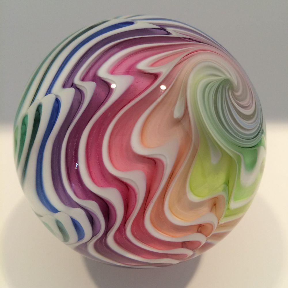 Huge 2 7 8 Mark Matthews Lobed Rainbow Art Glass Marble Glass With Images Glass Art Glass Marbles Marble Art