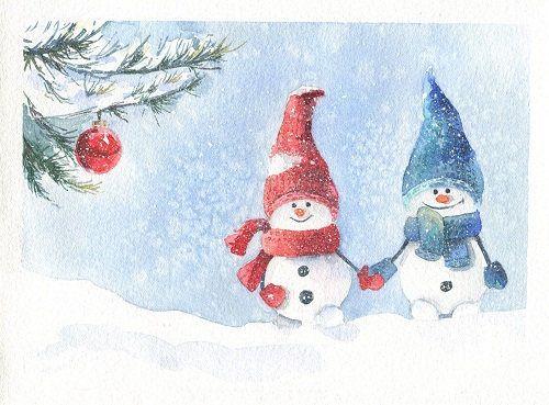 Peinture originale aquarelle carte de voeux bonhomme de neige
