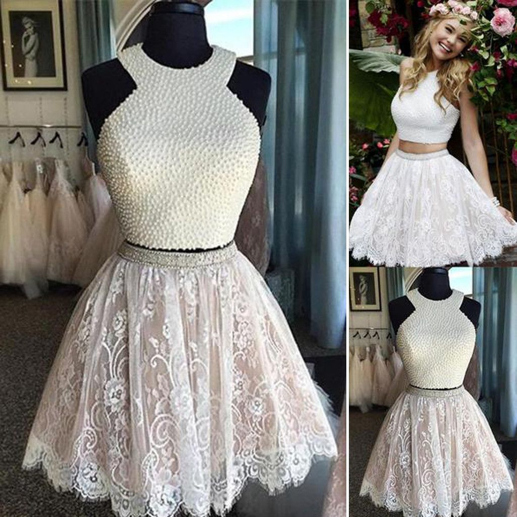 Sexy two pieces halter lace skirt pearls bodice cute homecoming prom
