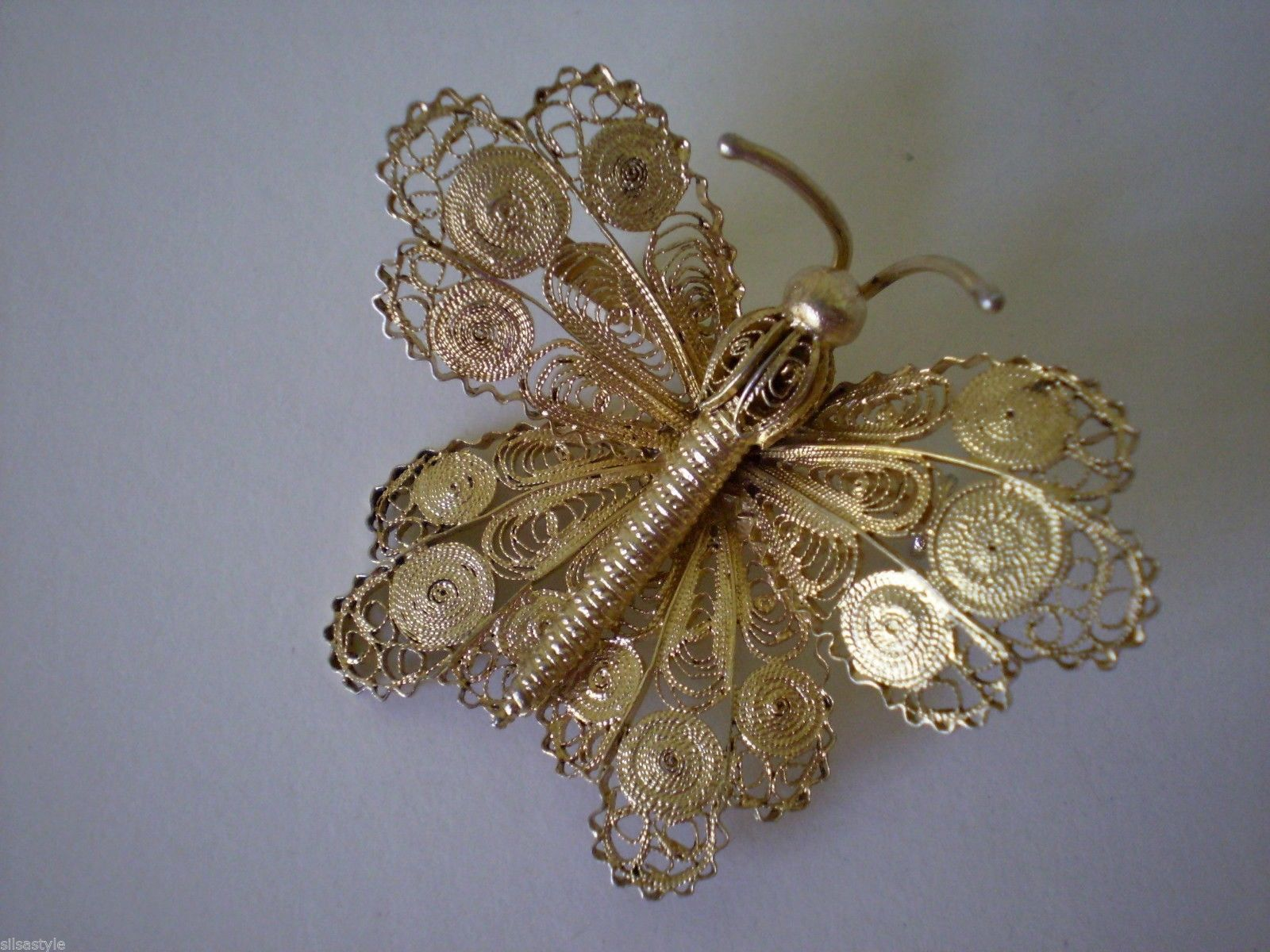 Vintage Gilt Sterling Silver Filigree Butterfly Topazio Portugal Pin Brooch | eBay