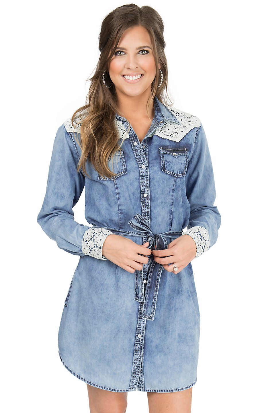 fd940a491e4 Panhandle Women s Distressed Chambray with Lace Trim Long Sleeve Western  Shirt Dress