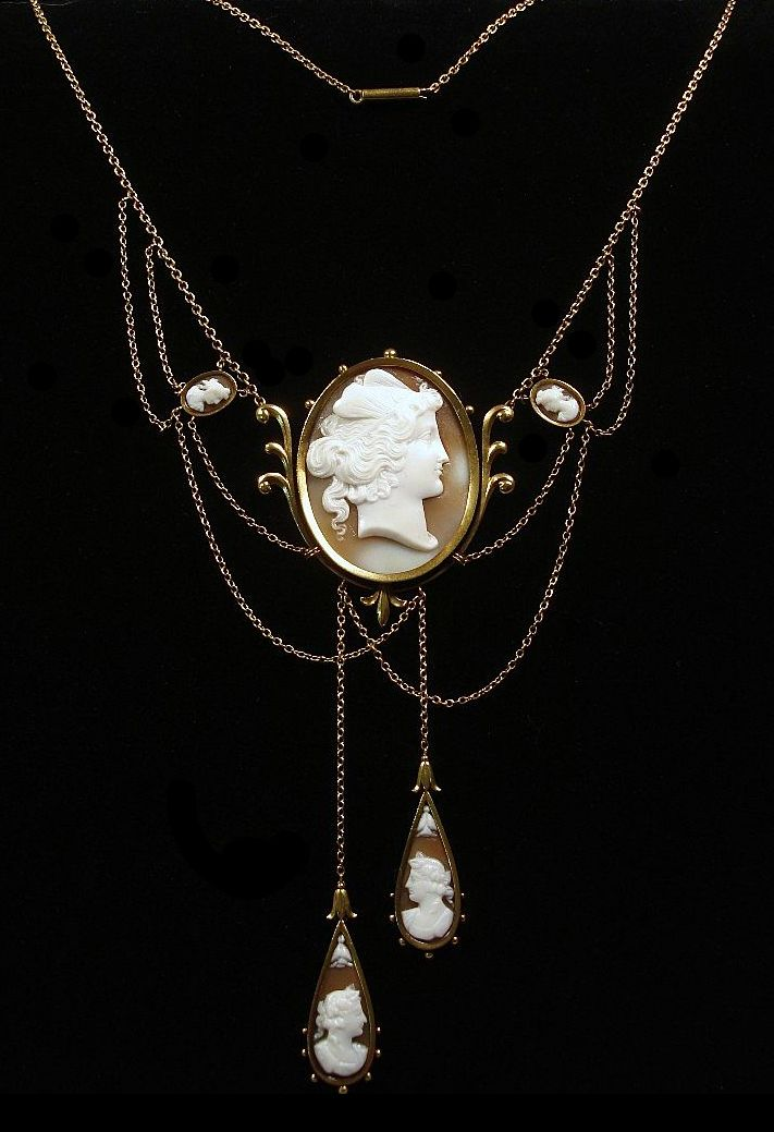 64b79b563b2d Rare Victorian 14k Gold And Shell Cameo Necklace