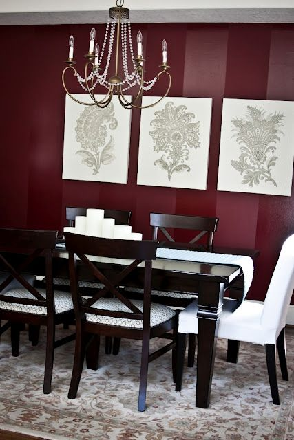 burgundy dining room walls. I like the wide stripes to make it ...