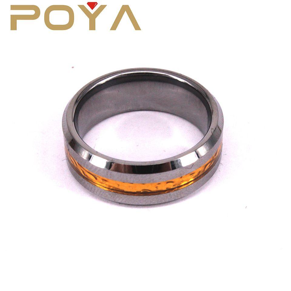 Poya Jewelry Fashion Blank Tungsten Finger Ring Designs Imitation Gold Inlay 8mm Wedding Bands Beveled
