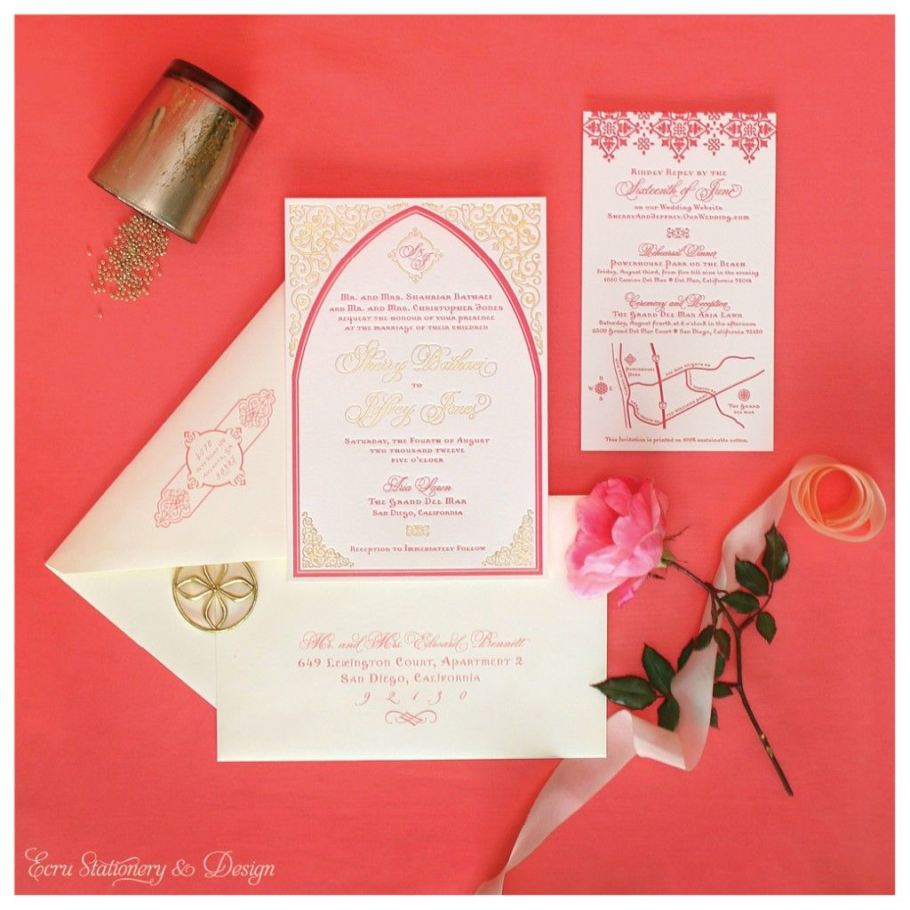 Pink & Gold Moroccan Letterpress Invitation with Gold Foil by ECRU ...