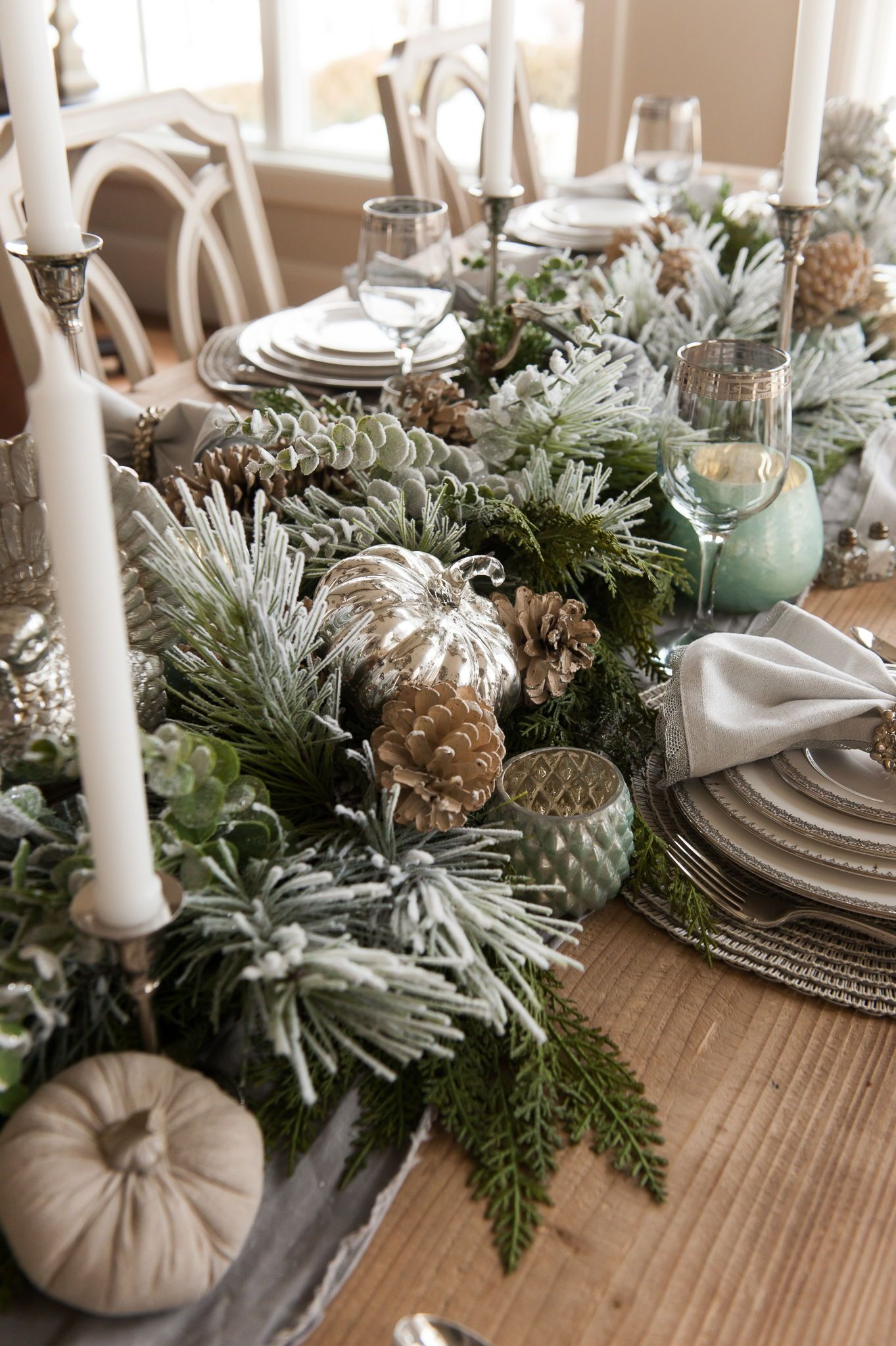 Thanksgiving Silver And White Tablescape Christmas Centerpieces Christmas Decorations Rustic Unique Christmas Decorations