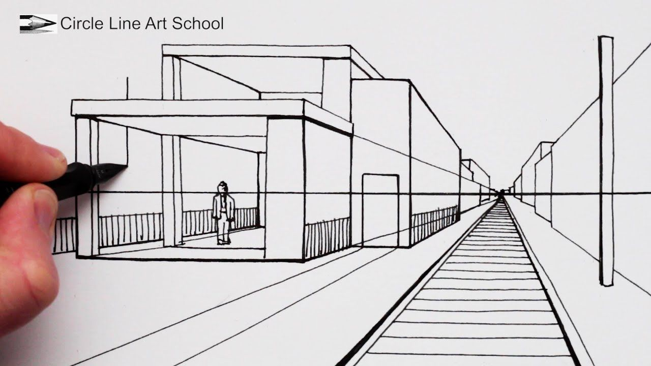 How to draw a modern house in 1 point perspective with train track