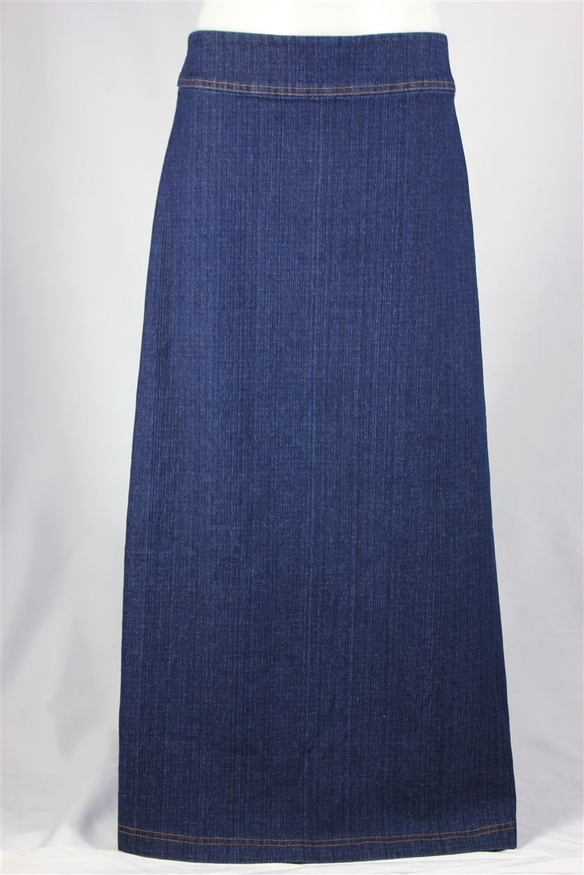 A-Line Simplicity Long Jean Skirt, Sizes 8-18: theskirtoutlet.com ...