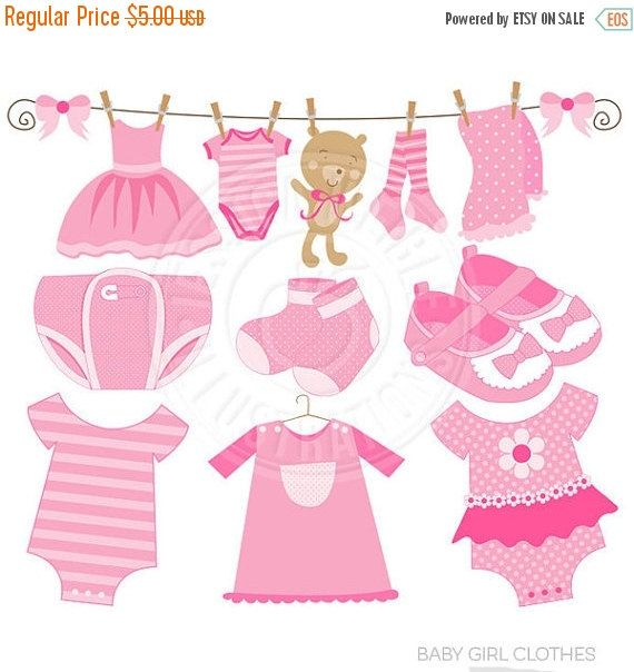 Baby Girl Clothes Cute Digital Clipart - Commercial Use OK - Pink ...