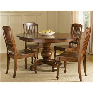 Americana Round Pedestal Table By Liberty Furniture Barebones Furniture Kitchen Table Round Dining Room Sets Round Dining Room Round Dining Table Sets