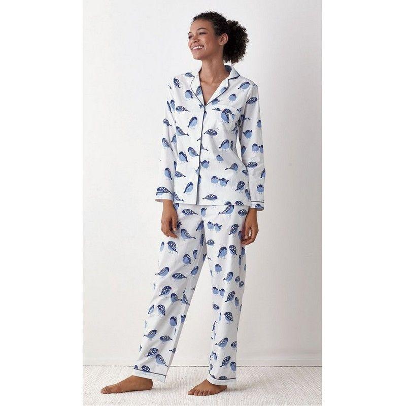 Printed Poplin Cotton Pajama Set – Birds