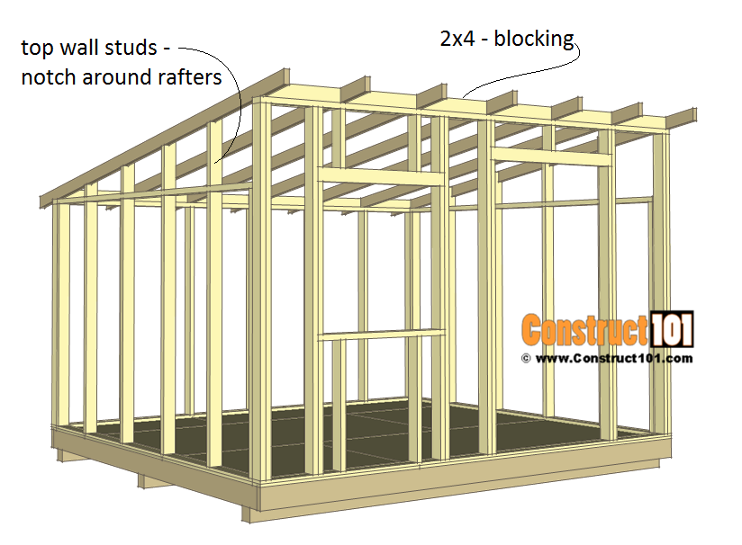 10x12 Lean To Shed Plans Construct101 In 2020 Shed Plans Lean To Shed Plans Shed Building Plans