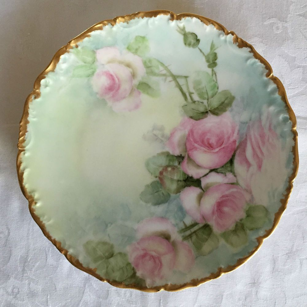 Plates & Chargers Antiques Limoge Plate Pink Hand Painted Roses Signed