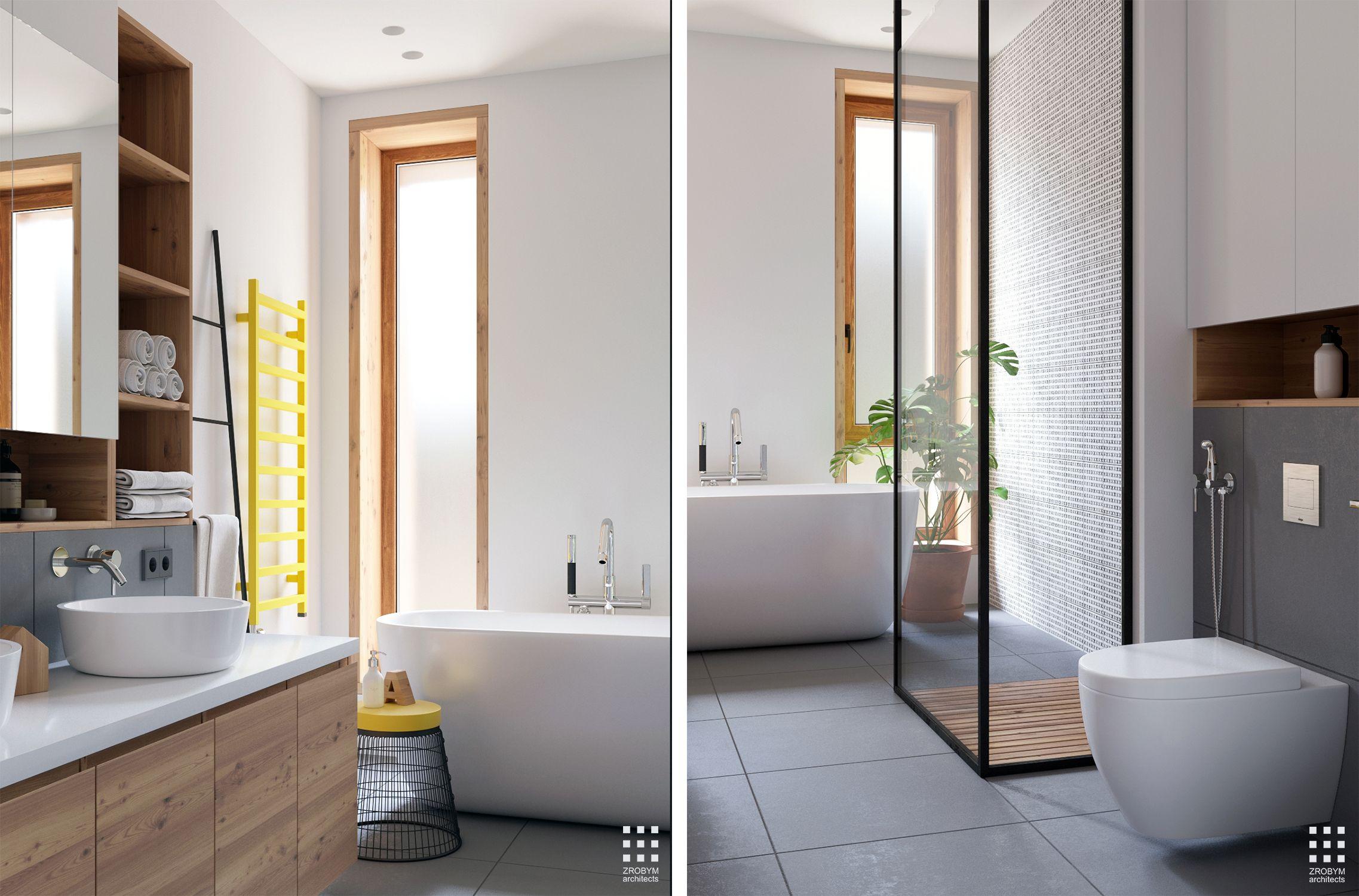 bad aan het raam lichtstroken ernaast pacte en minimale