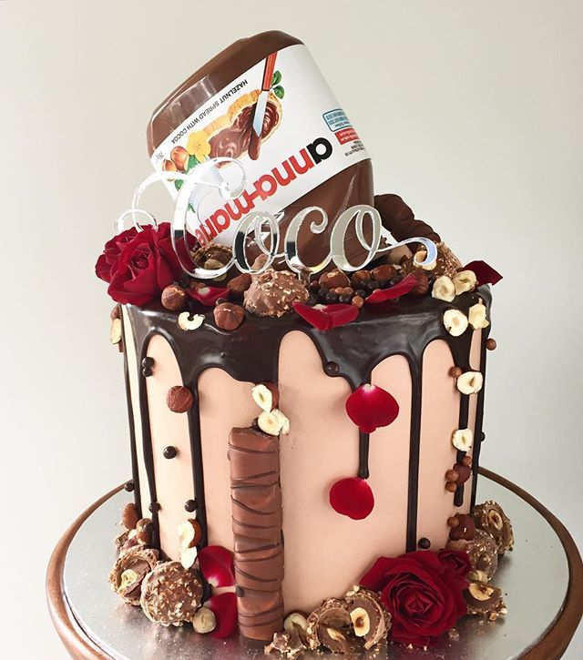 Sensational Nutella Cake With Red Roses Thanks Jonathan Nutella Birthday Birthday Cards Printable Riciscafe Filternl