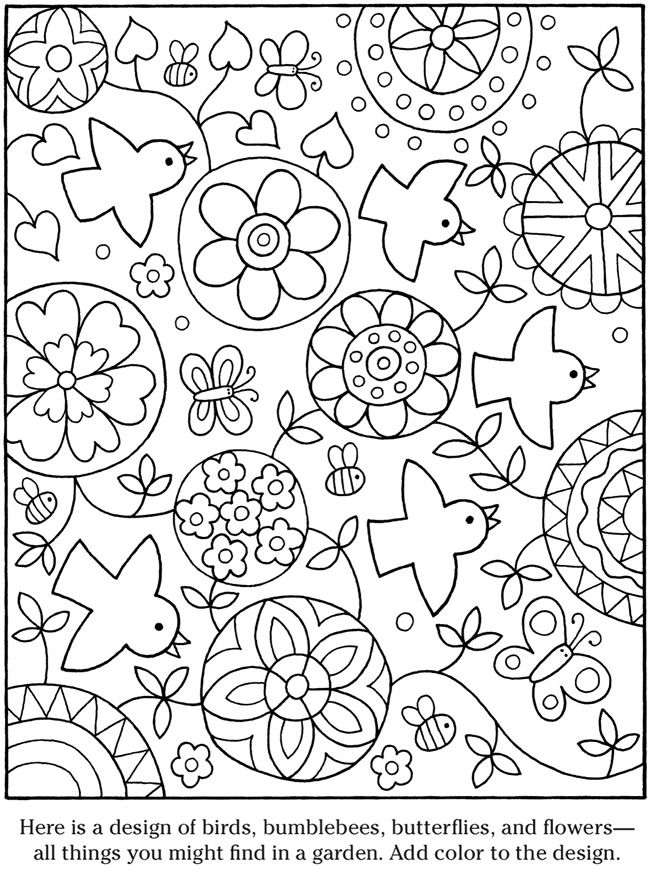 ☮ American Hippie Art ~ Coloring Pages . . Flower Mandala Birds ...