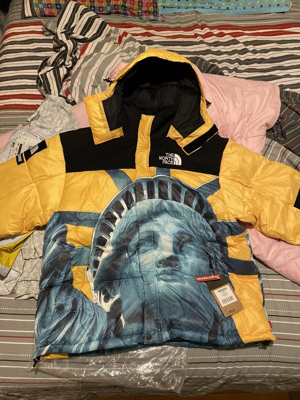 Supreme The North Face Statue Of Liberty Baltoro Yellow Jacket In 2020 North Face Nuptse Jacket The North Face North Face Hat
