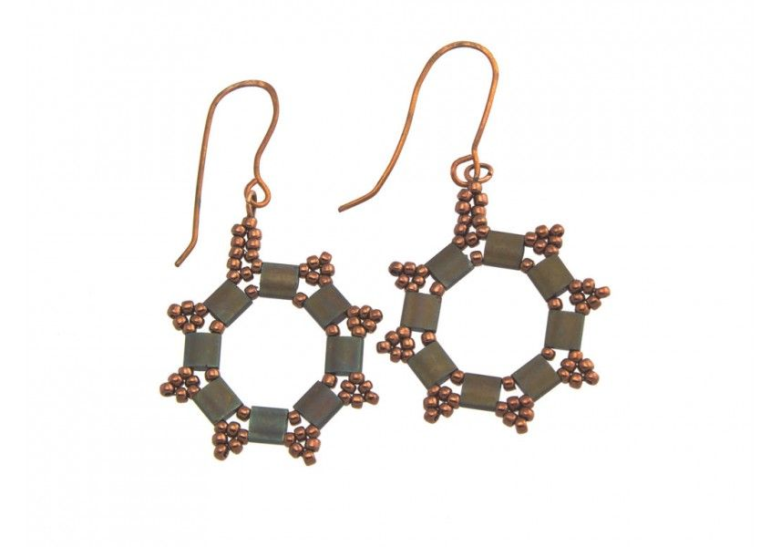 Antique Bronze Hexagon Copper Earrings - Hand Crafted Jewelry by VeriteJewelry.com