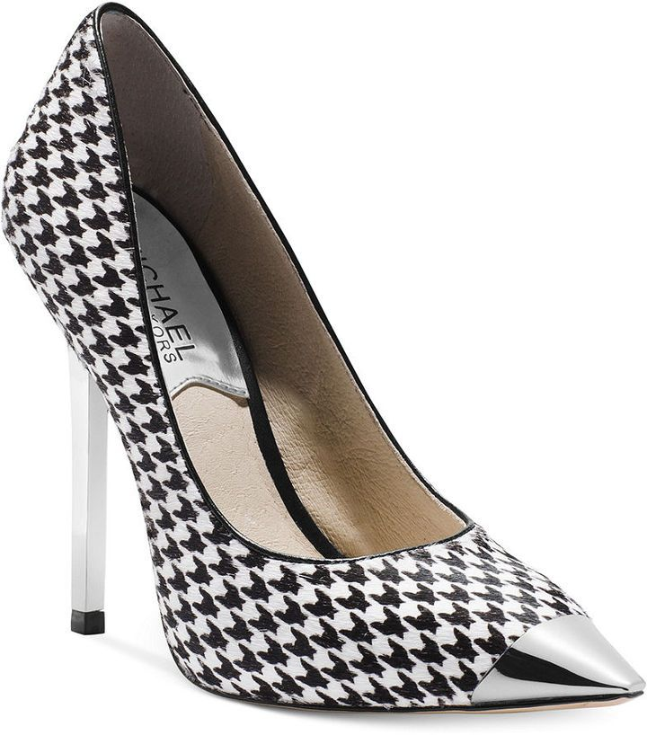 c2168a596133 Black and White Houndstooth Leather Pumps by MICHAEL Michael Kors. Buy for   250 from Macy s