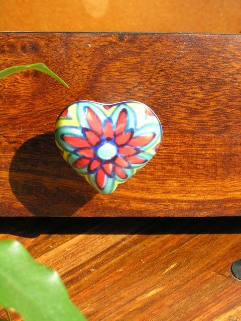 Heart shaped ceramic hand painted door knob in yellow and blue ...