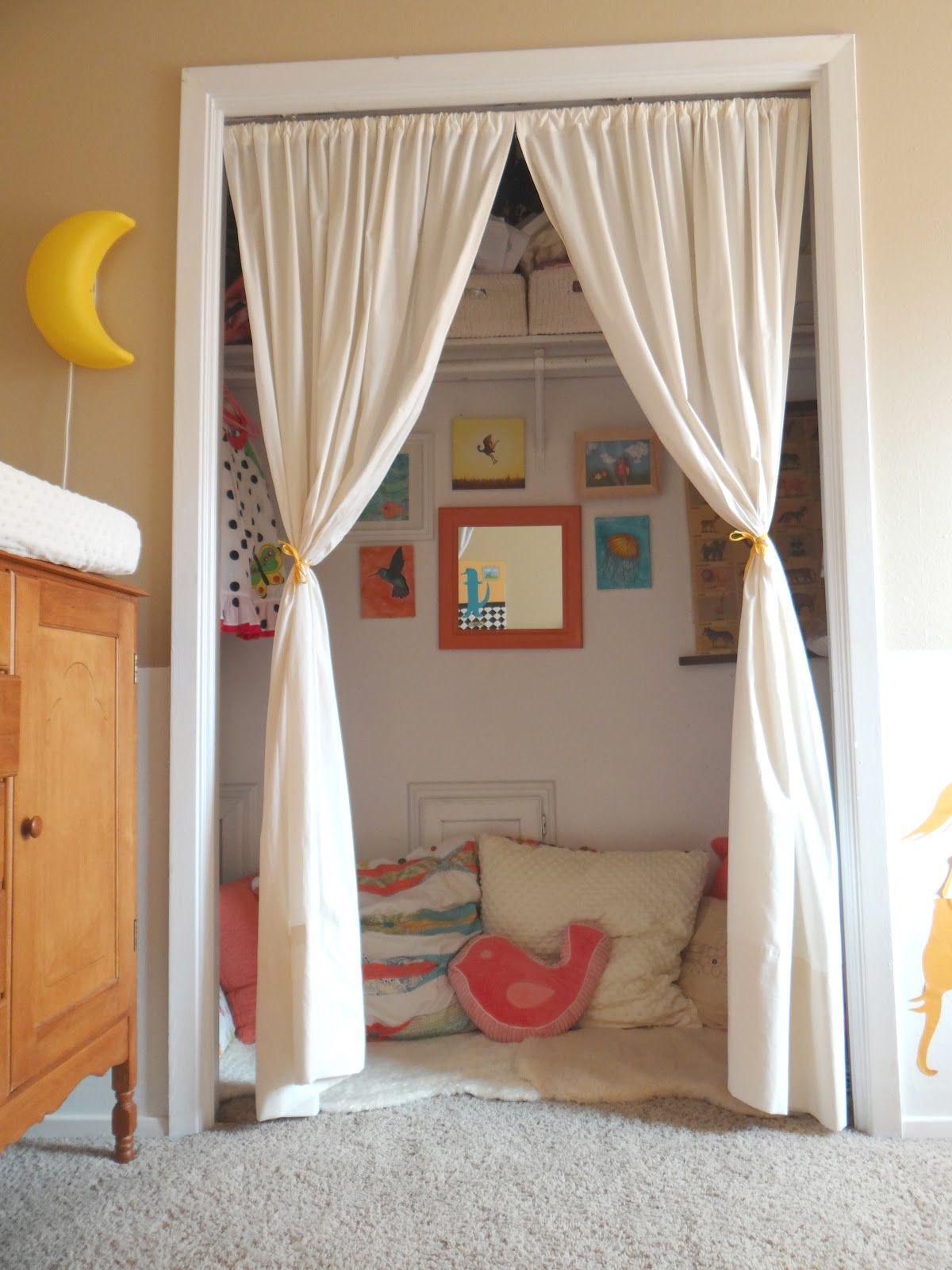 Closet curtains for kids - Closet Nook Closet Reading Nooks Kid Closet Closet Ideas Closet Space Spare Room Closet Family Closet Closet Curtains Closet Redo