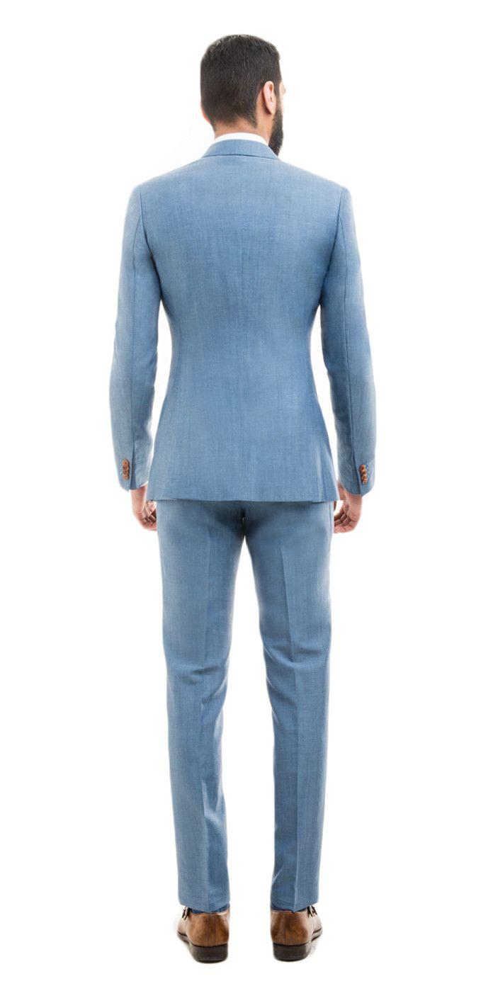 Light Blue Wool Linen Suit | Black Lapel | suit | Pinterest | Linen ...