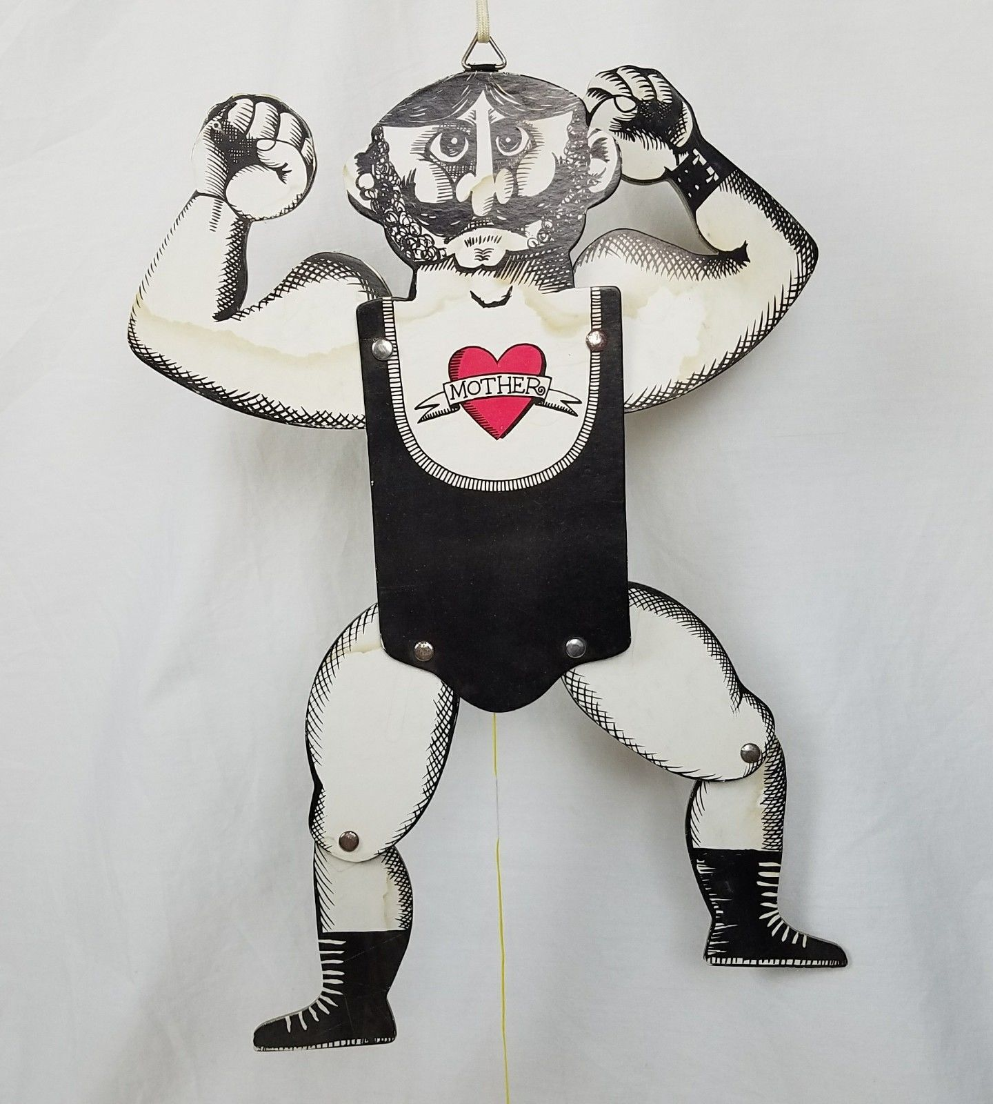 "RARE Vtg c1940 ic Flexing MUSCLE MAN 16"" Pull String Puppet"