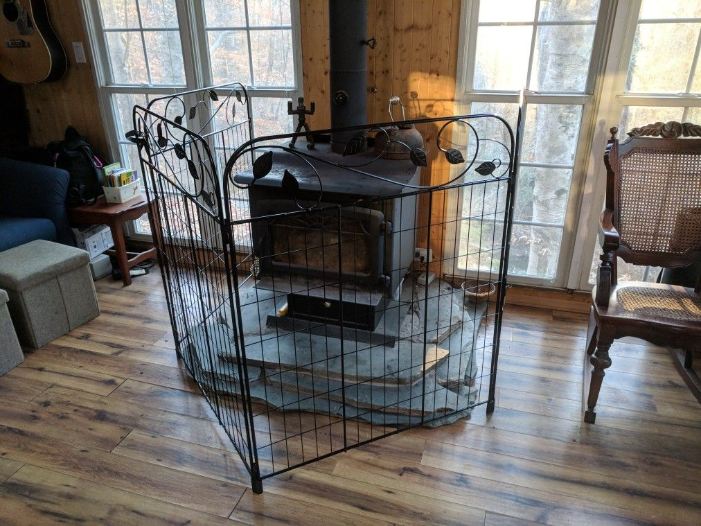 Baby Proof Woodstove Surround Made From Decorative Garden Panels Box Put Tubing On Bottom To Protect Floor Fastened Wall With Conduit