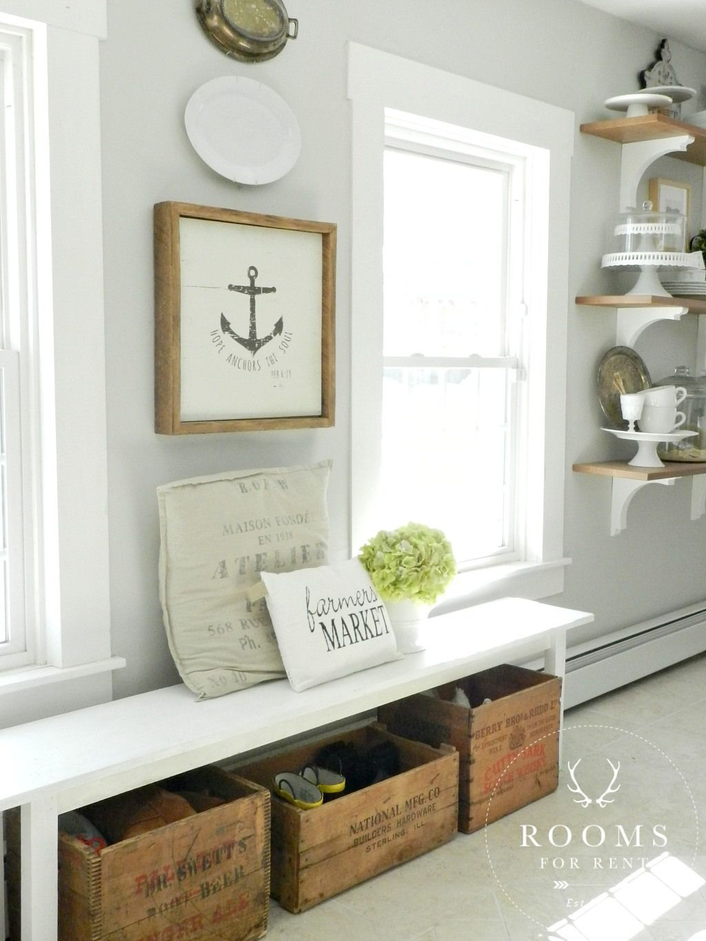 Perfect small entry setup. Rustic wood sign, open shelves, vintage ...