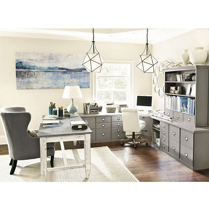 Original home office corner desk with two cabinet credenzas wood top homeofficeideas also rh pinterest