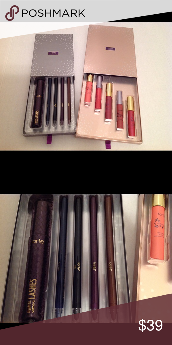 SALE! Mascara and eyeliner set Great buy for this set. Brand new, never taken anything out of the box. Lip gloss set also in my closet :) tarte Makeup Eyeliner