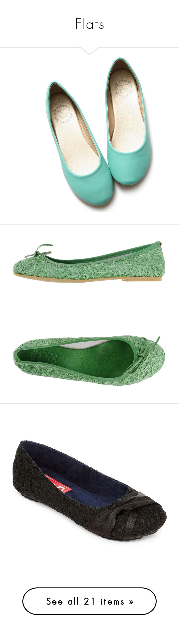 """""""Flats"""" by rh87 on Polyvore featuring shoes, flats, ballerina shoes, ballet flat shoes, ballet shoes, short heel shoes, low heel shoes, light green, bow flats and flat shoes"""