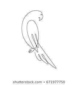 One Line Design Silhouette Parrothand Drawn Stock-Vektorgrafik (Lizenzfrei) 671977750