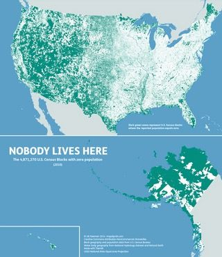 Nobody Lives Here Census Blocks With Zero Population By Nik - Us map redrawn equal population