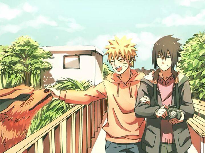 Sasuke has the two cutest pets ever! The nine tailed fox...and...Naruto.