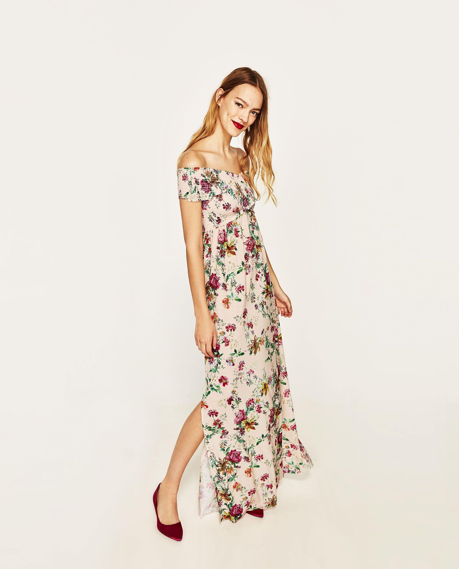 31ea6ec8 VESTIDO LARGO ESTAMPADO FLORAL   don   Dresses, Shirred dress ...