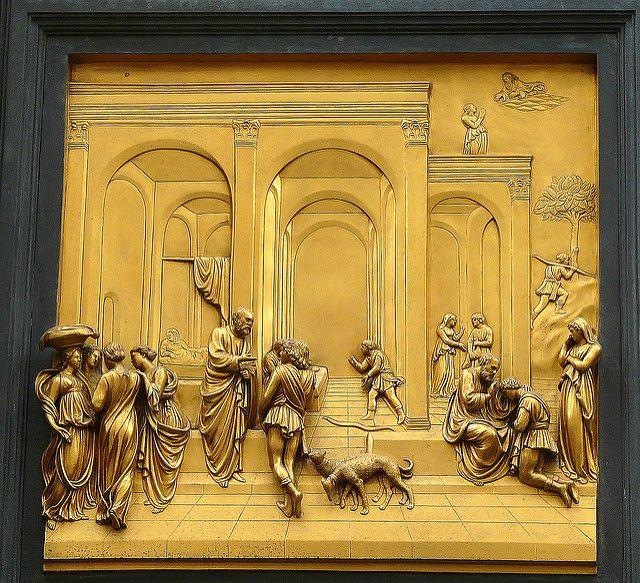 Lorenzo Ghiberti, Isaac and His Sons (detail), east doors ...