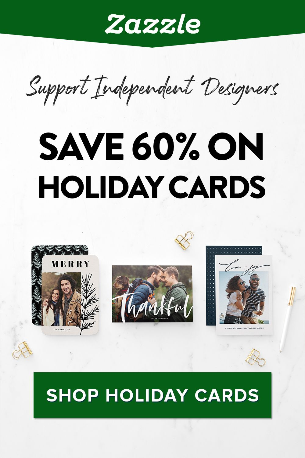 Find the perfect holiday card on Zazzle. We've got thousands of designs to choose from, including themes for newlyweds, a new baby, funny, pets, Disney and more. Browse by style, theme, or number of photos.