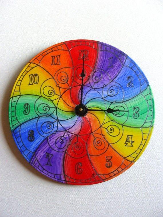 55 00 Via Etsy Color Wheel Wheel Clock Clock