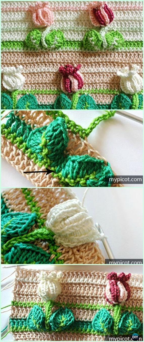 Crochet Textured Tulip Stitch Free Pattern - Crochet Flower Stitch ...