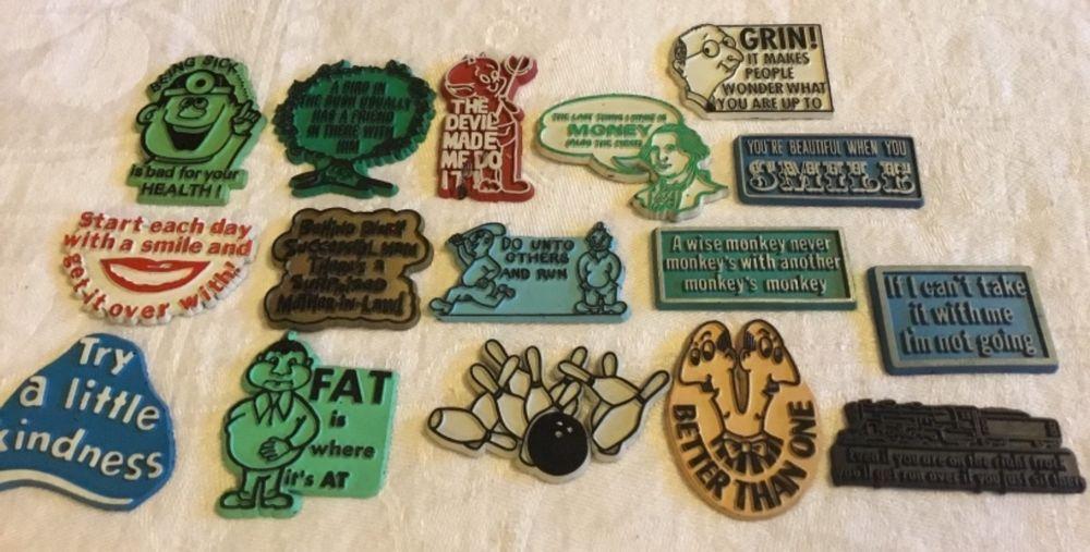 Refrigerator Magnet Godmother Godparent Quote Pink: Lot Of 16 Vintage Novelty Humorous Refrigerator Magnets