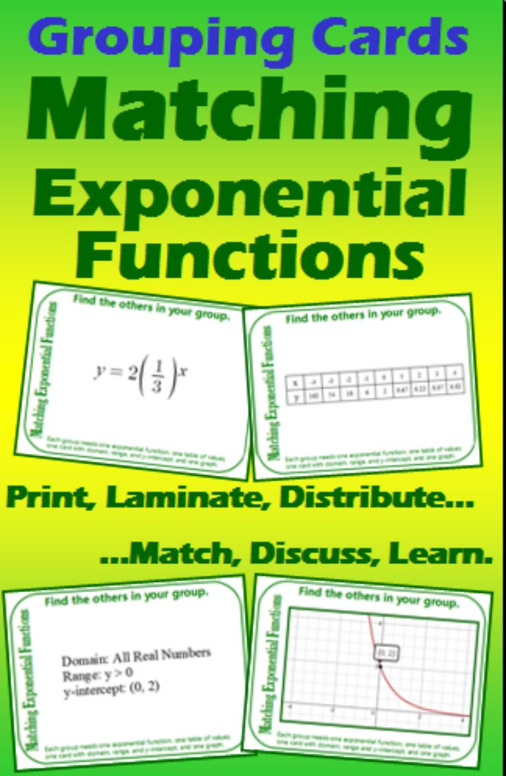 Grouping Cards Matching Exponential Functions With Images