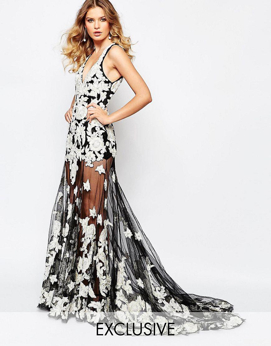 Floral maxi dress wedding  AStarIsBornLuxeEmbellishedFloralAppliqueMaxiDressWithRed