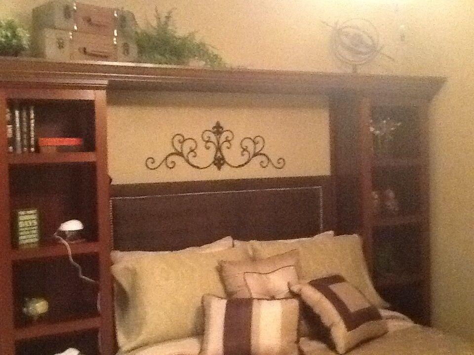 Two slim bookcases with a bridge between also a diy headboard love it for the home for London bedroom set with lighted headboard
