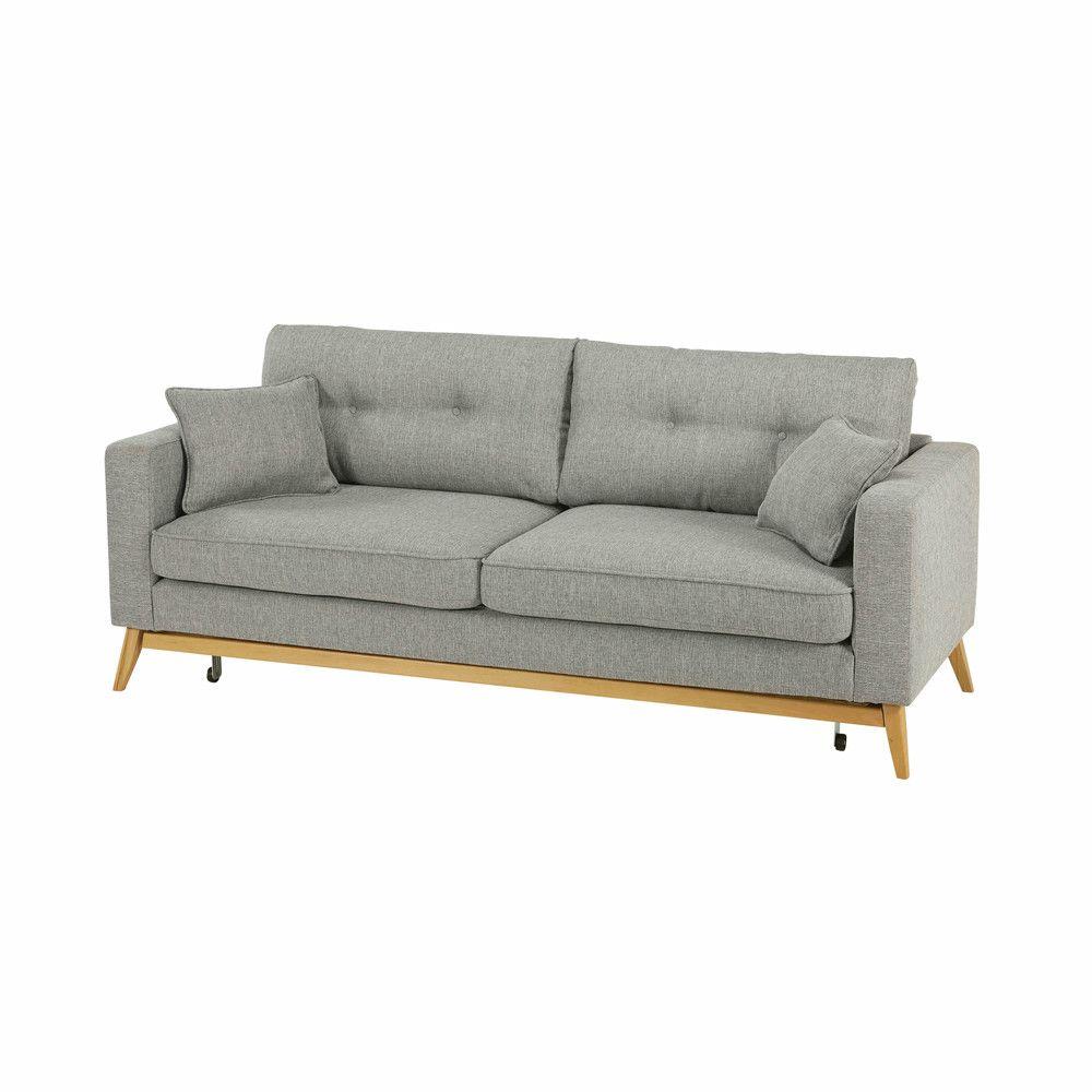 Skandinavisches Ausziehbares 3 Sitzer Sofa Aus Hellgrauem Stoff Canape Jaune Convertible Canape Canape Lit
