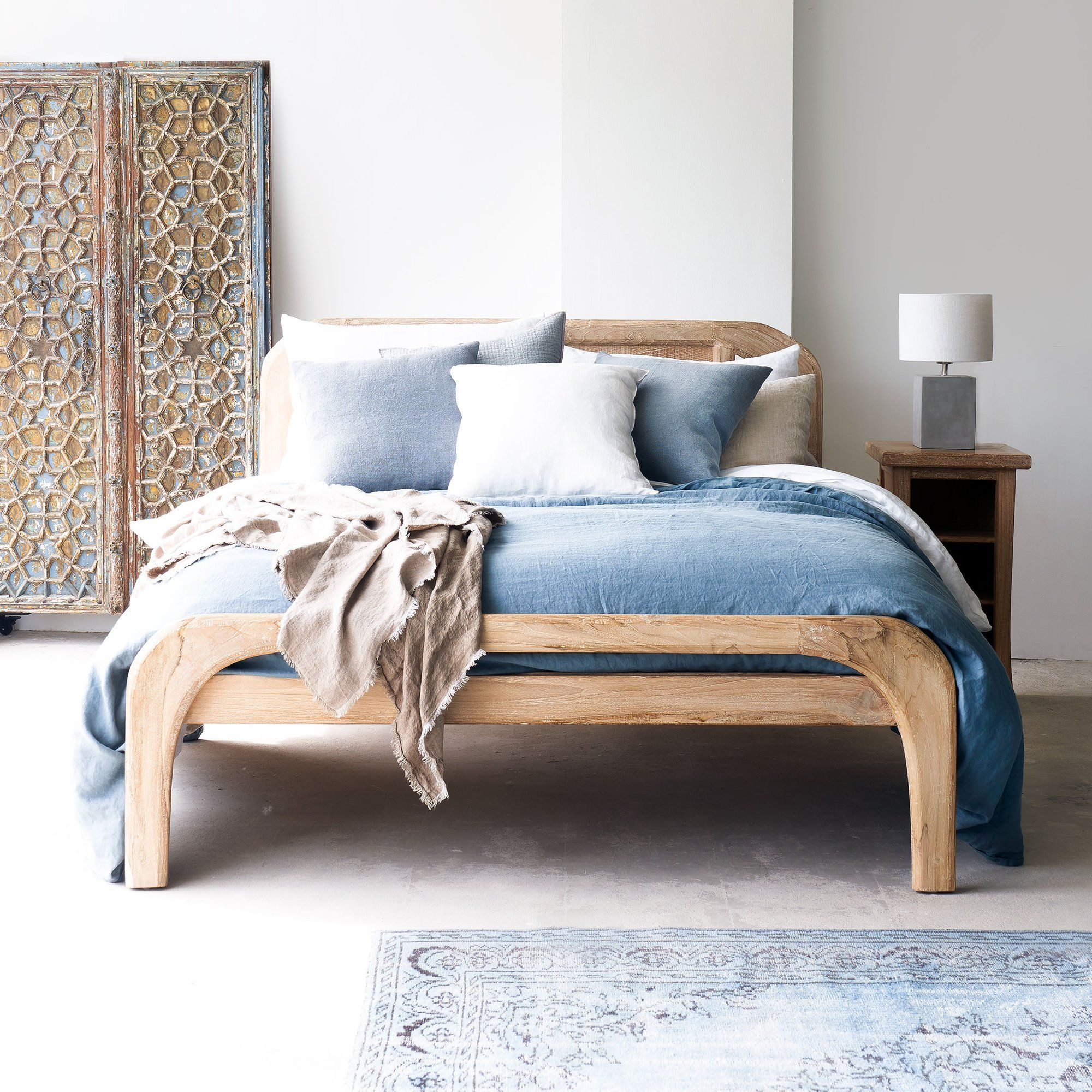 Teak Bed Frame Plough Bed Singapore Size Whitewash In 2020 Bed Frame Bed White Wash