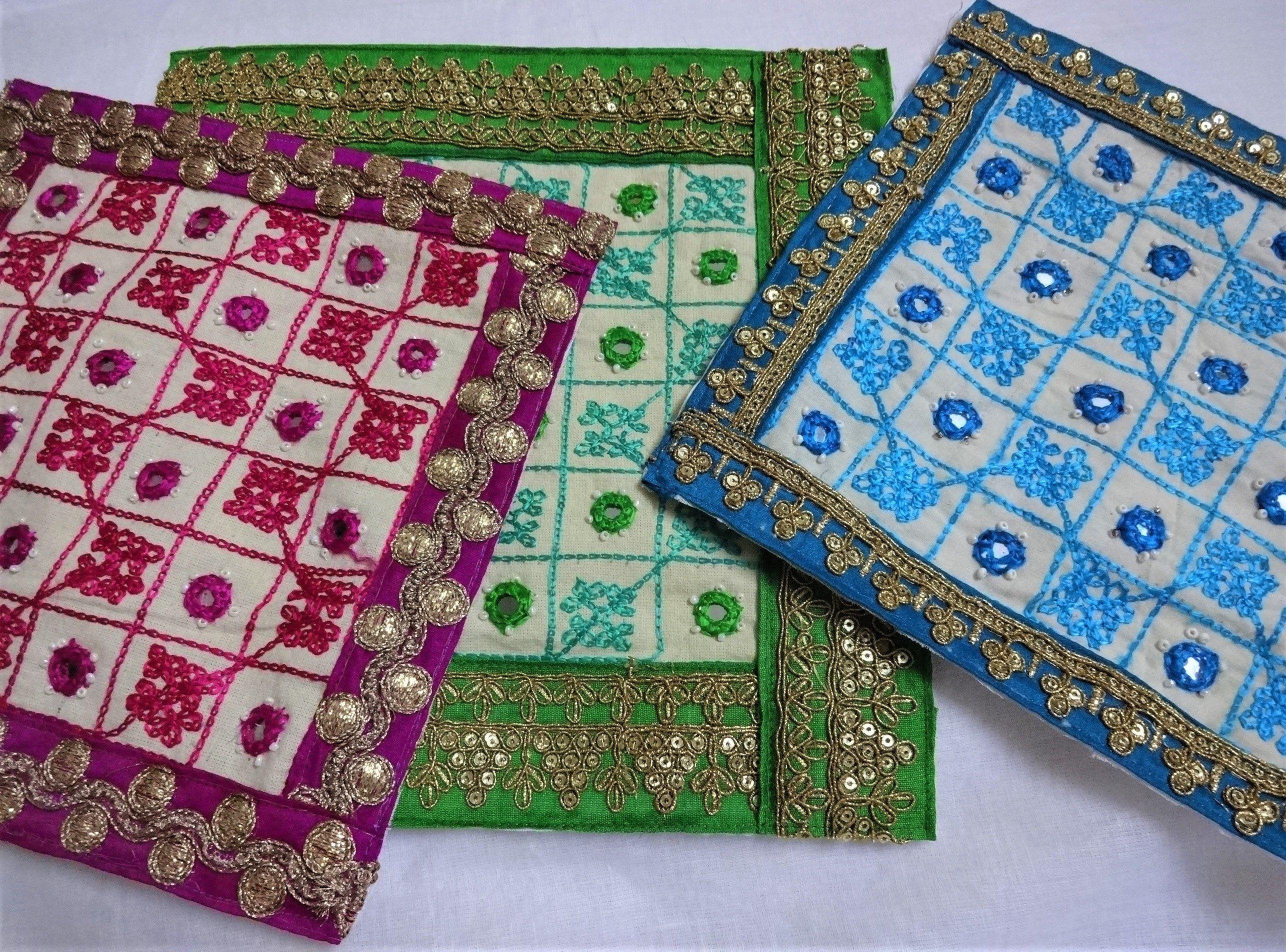 Blue Hand-Embroidered Tribal Trim Kutch India Mirror Banjara Fabric Embroidery